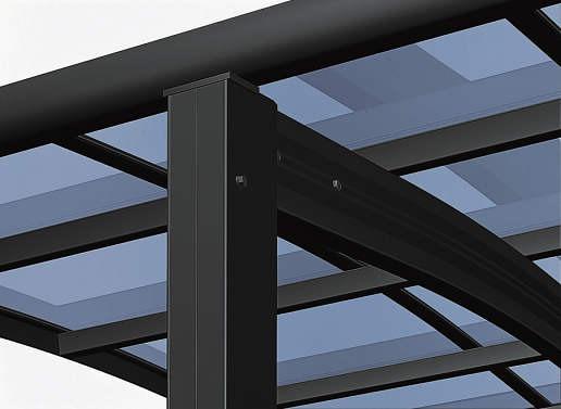 ↑スタンダードカーポートグランシリーズ共通 敷地条件に応じた柱移動 B7_B7カームブラック_XCXX0147