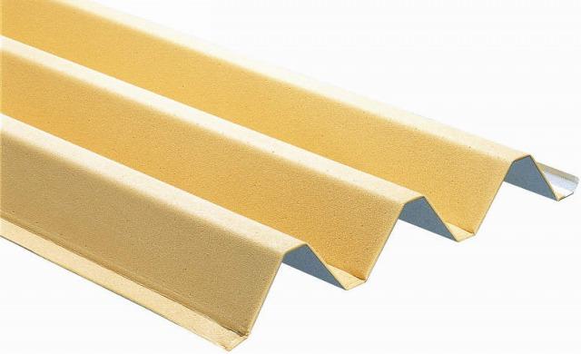 ↑スチール折板屋根ふき材 下面:ぺフ付き ベージュ_カラーサンプル_XCXX0496