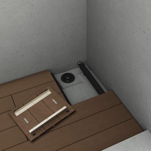 ↑集合住宅向けバルコニー用 リウッドデッキ 200 点検口 開けた状態 FF_FF:レッドブラウン_XGXX0487