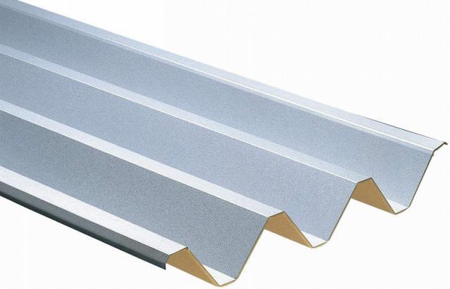 ↑スチール折板屋根ふき材 シルバー(ガルバリウム鋼板_カラーサンプル_XCXX0494