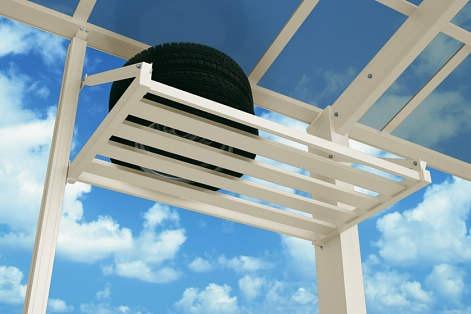 ↑スタンダードカーポートグランシリーズ共通 収納棚イメージ 屋根ふき材:ポリカ (アースブルー H2_H2:プラチナステン_XCXX0375
