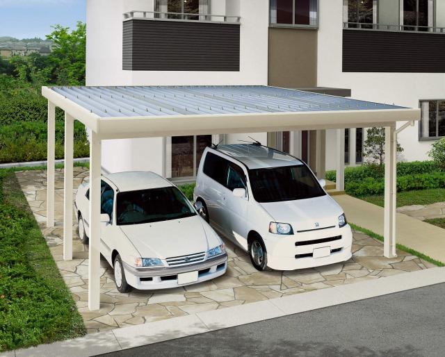 ↑ジーポートneo 標準鼻隠しタイプ 基本セット2台用:5555LA 明り取り屋根ふき材 積雪150cmAタイプ 角柱 H2_基本セット2台用_XCSS0184