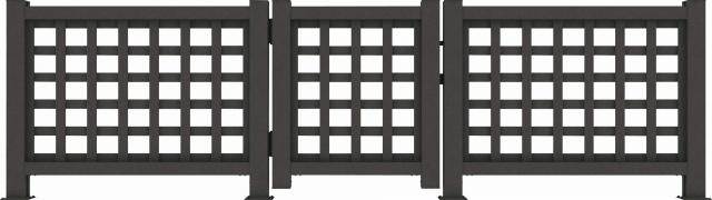 ↑リウッド デッキ門扉1型〈井桁格子 T80 FE_690_XGFE0462