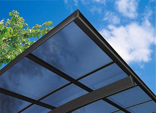 ↑スタンダードカーポートグランシリーズ共通 屋根ふき材熱線遮断ポリカ (アースブルー 見上げ B7_B7カームブラック_XCXX0161