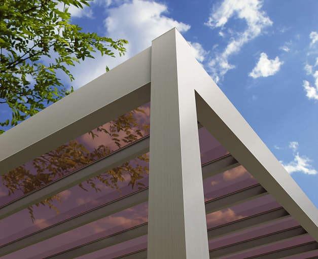 ↑リレーリア テラス屋根 ポリカーボネート板 屋根ふき材 スモークブラウン_部分_XKXX0086