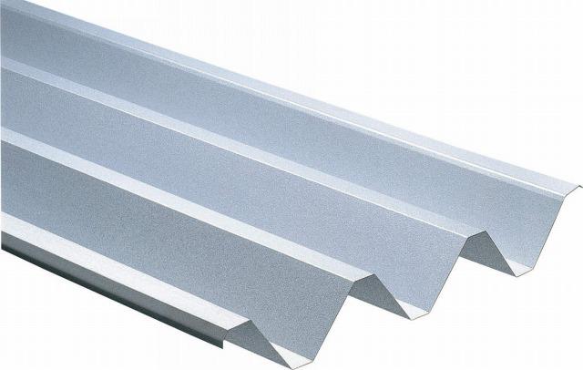 ↑ジーポートneo スチール折板屋根ふき材(市販品 ペフなし上面:シルバー_カラーサンプル_XCXX0624