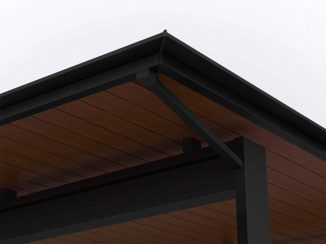 ↑エクスティアラ ルーフ 樋のスタイル屋根から柱に向けて B7YF_部分_XCXX0724