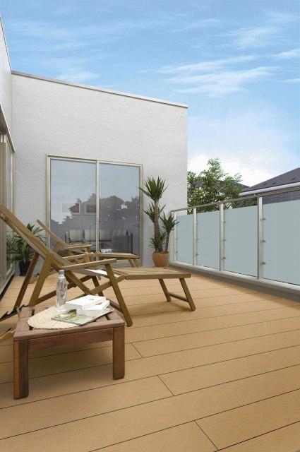 ↑バルコニー用 リウッドデッキ 200 戸建住宅2階テラス FDエルビュート ハンドレール 二辺支持 マットタイプ H2_FDホワイトブラウン_XGSS0256