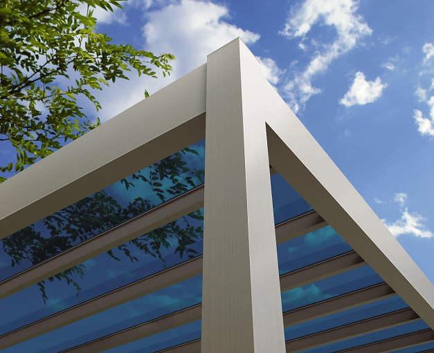 ↑リレーリア テラス屋根 ポリカーボネート板 屋根ふき材 アースブルー_部分_XKXX0085