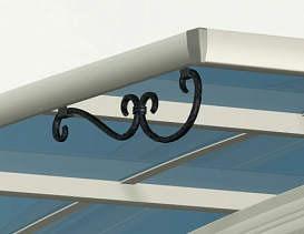 ↑スタンダードカーポートグランシリーズ共通 鋳物飾りA型 屋根ふき材ポリカ (アースブルー H2_H2プラチナステン_XCXX0353