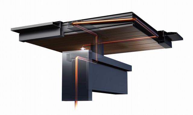 ↑エクスティアラ ルーフ 照明配線CD管の納まり 見上げ B7YF_部分_XCXX0732