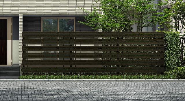 ↑ルシアス スクリーンフェンス S05型 横板格子細横格子 T200 W6_6000_XFSS0208W6