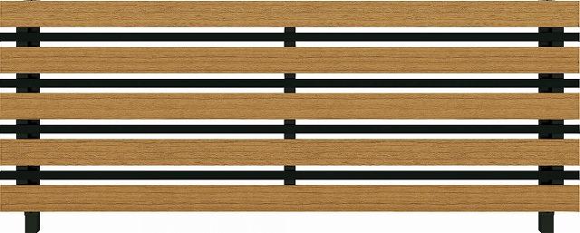 ↑ルシアス フェンス H03型 横板格子細横格子 T80 B7 W7(自由柱施工_商品単体外観_XFW70440B7
