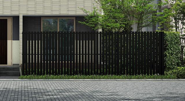 ↑ルシアス スクリーンフェンス S04型 たて板格子 T200 B7_6000_XFSS0206B7