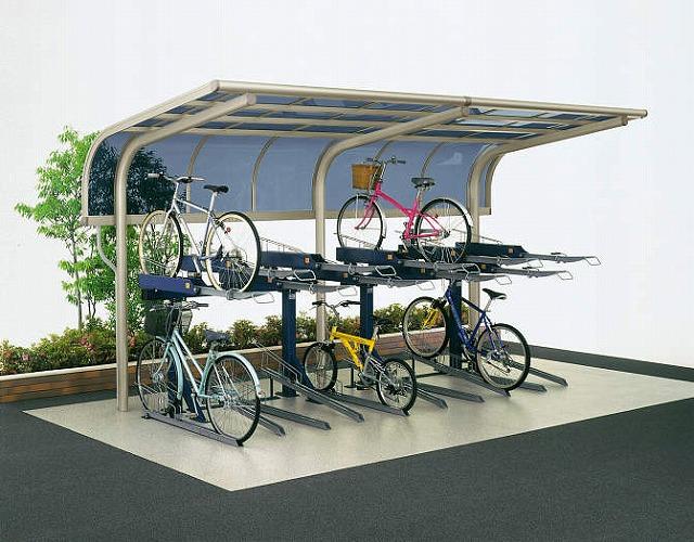 ↑サイクルキャップ 積雪20cm地域用 基本セット5521H 2段式自転車ラック使用20台収容 屋根ふき材ポリカ板 H2_商品単体外観_X16318H2