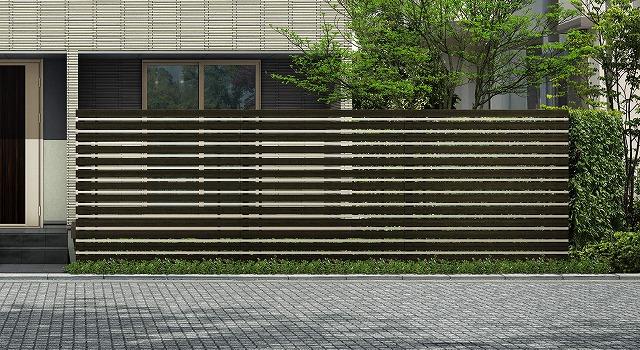 ↑ルシアス スクリーンフェンス S05型 横板格子細横格子 T200 W6H2_6000_XFSS0208W6H2