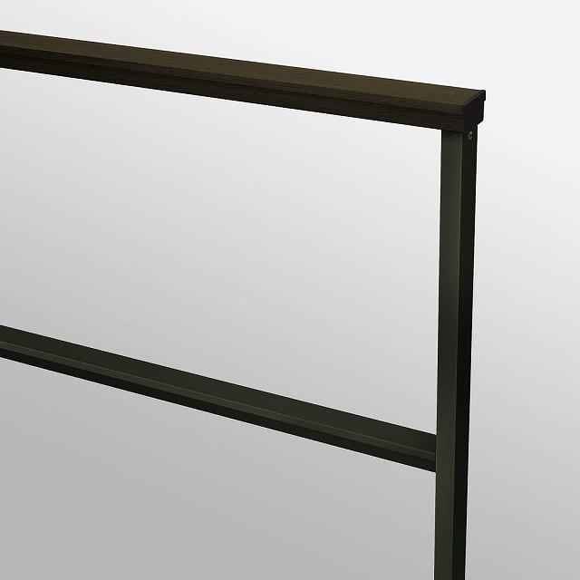 ↑ルシアス フェンスLite02型 T80 柱・横格子B7笠木W6 端部納まり カラーバリエーション_部分_XFB70505W6