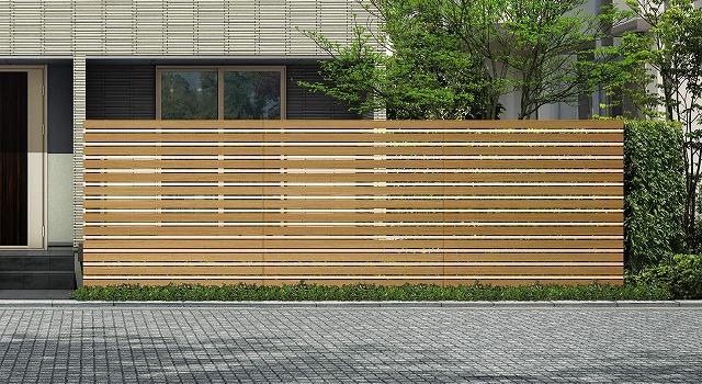 ↑ルシアス スクリーンフェンス S05型 横板格子細横格子 T200 W7H2_6000_XFSS0208W7H2