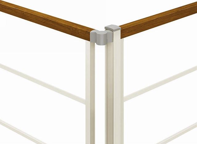 ↑ルシアス フェンス H05型F01型F04型 間仕切柱施工 角柱 H2 YF_部分_XFXX0624