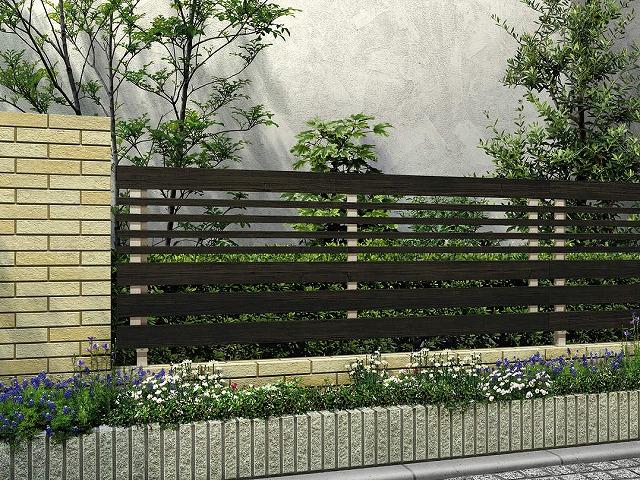 ↑ルシアス フェンス H04型 横板格子細横格子 T80 H2 W6_商品単体外観_XFW60451