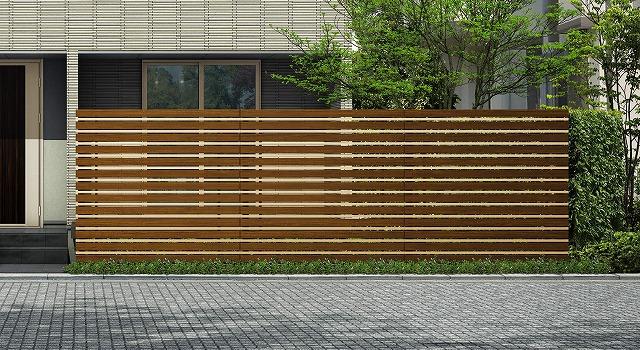 ↑ルシアス スクリーンフェンス S05型 横板格子細横格子 T200 YFH2_6000_XFSS0208YFH2