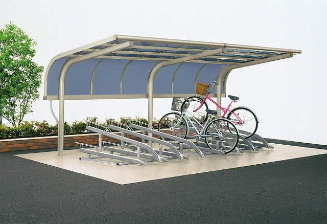 ↑サイクルキャップ 積雪20cm地域用 基本セット5521 平置き式自転車ラック使用12台収容 屋根ふき材ポリカ板 H2_商品単体外観_X16317H2