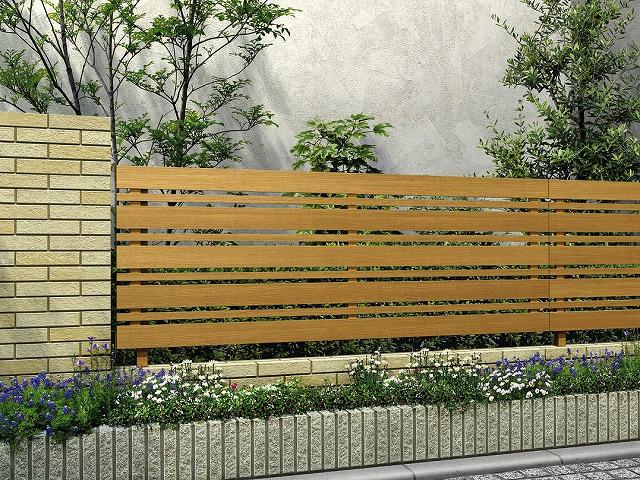 ↑ルシアス フェンス H03型 横板格子細横格子 T80 W7(自由柱施工_商品単体外観_XFW70450A