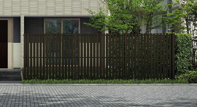 ↑ルシアス スクリーンフェンス S04型 たて板格子 T200 W6_6000_XFSS0206W6