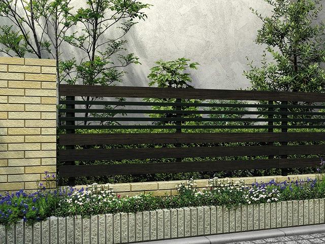 ↑ルシアス フェンス H04型 横板格子細横格子 T80 B7 W6_商品単体外観_XFW60451B7