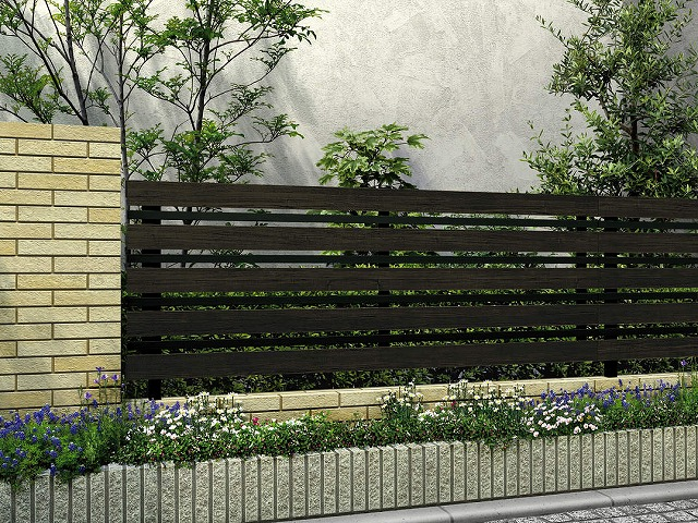 ↑ルシアス フェンス H03型 横板格子細横格子 T80 B7 W6_商品単体外観_XFW60450B7