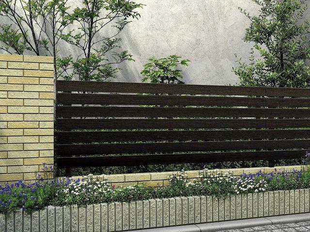 ↑ルシアス フェンス H02型 横板格子 T80 W6(自由柱施工_商品単体外観_XFW60449A