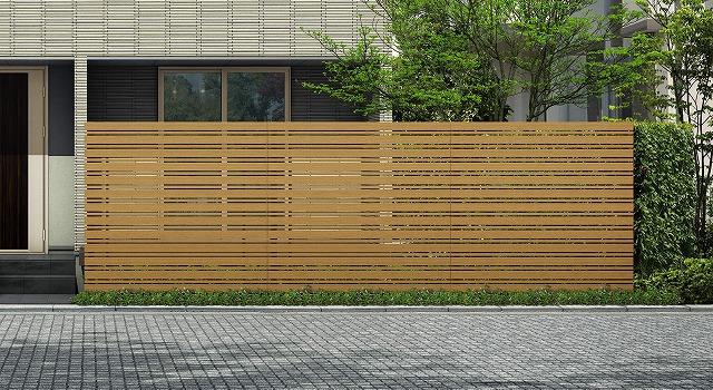 ↑ルシアス スクリーンフェンス S05型 横板格子細横格子 T200 W7_6000_XFSS0208W7