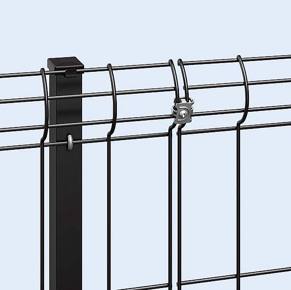 ↑イーネット フェンス3F型〈自由柱タイプ 直線継手(ステンレス B7_部分_XFXX0766