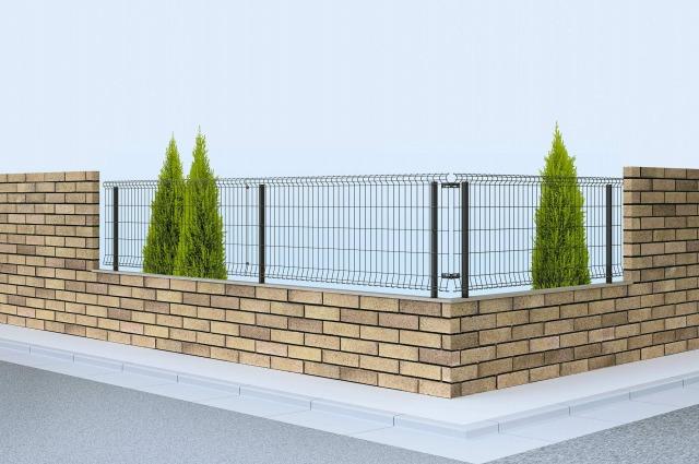 ↑イーネット フェンス2F型〈水平地用 アルミ自由柱施工 T80 TM_商品単体外観_XFTM0424