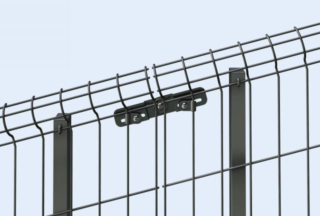 ↑イーネット フェンス2F2FK型〈自由柱タイプ 傾斜地用本体どうしの連結部 TM_部分_XFXX0612