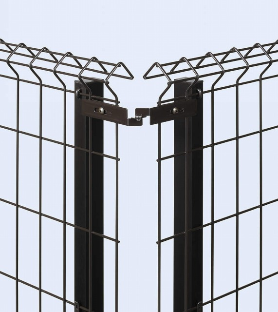 ↑イーネット フェンス1F1FK型〈自由柱タイプ コーナー部品(ステンレス OY_部分_XFXX0484