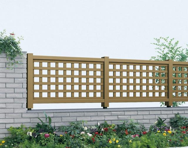 ↑ガーデン倶楽部 リウッド シリーズ リウッド フェンス1型 井桁格子 T80 FD_FDホワイトブラウン_XFFD0290