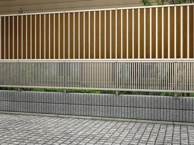 ↑2段支柱 T150(ブロック建て納まりH2(上:ルシアス フェンスF01型 T100 YF 下:エクスライン フェンス13型 T60 H2_15225_XFYF0470H2