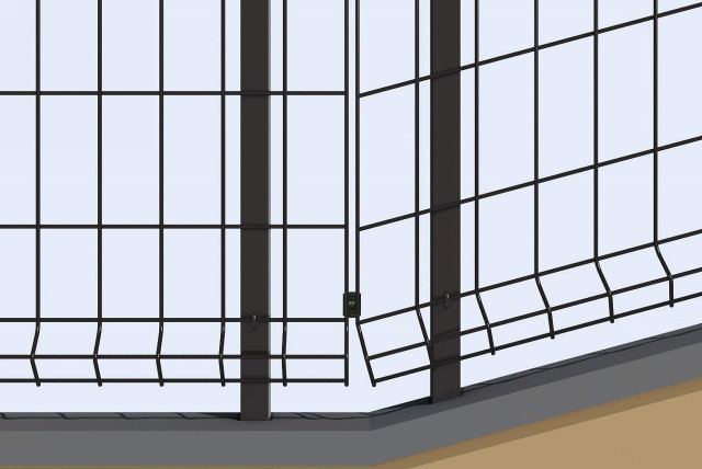 ↑イーネット フェンス1F1FK型〈自由柱タイプ 傾斜地用 傾斜地用とスチール自由柱下部納まり OY_部分_XFXX0495
