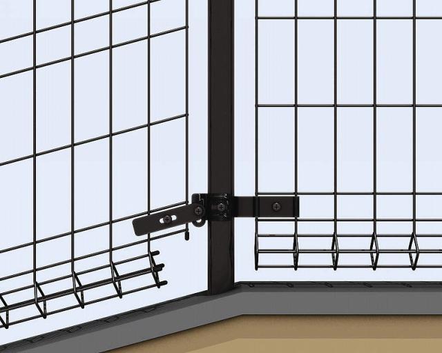 ↑イーネット フェンス1M1MK型〈間仕切柱タイプ 1M型(水平地用本体との連続施工 端部キャップ 下部 OY_部分_XFXX0504