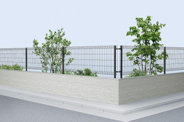 ↑イーネット フェンス3F型水平地用 スチール自由柱施工 T80 B7_商品単体外観_XFB70563