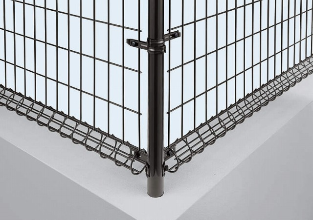 ↑イーネット フェンス2M型〈間仕切柱タイプ コーナー納まり 角柱用部品(スチール 中間部 TM_部分_XFXX0547