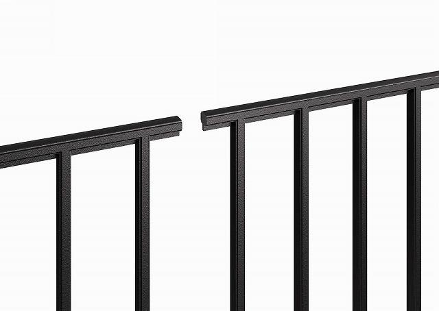 ↑シャローネ フェンス T60スライド自由柱施工:端部カバー(切断面_部分_XFXX0667B7