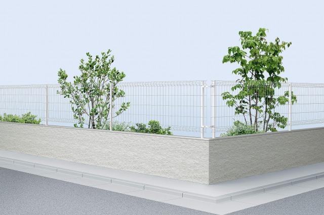 ↑イーネット フェンス3F型〈水平地用 スチール自由柱施工 T80 YW_商品単体外観_XFYW0563