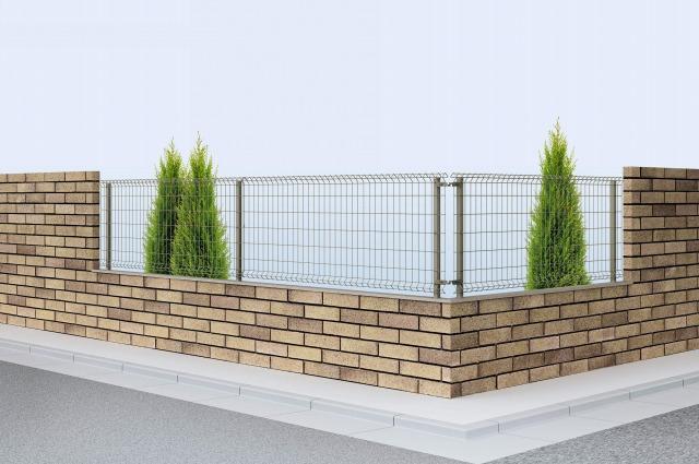 ↑イーネット フェンス1F型水平地用 スチール自由柱施工 T80 O1_商品単体外観_XFO10345