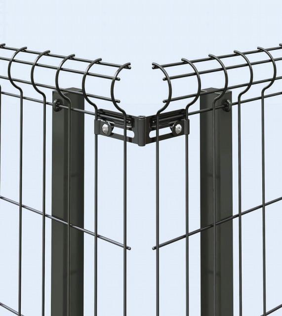 ↑イーネット フェンス2F2FK型〈自由柱タイプ コーナー金具(スチール TM_部分_XFXX0604