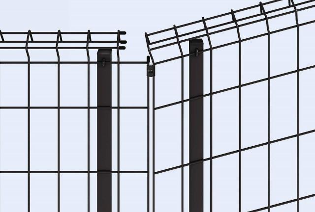 ↑イーネット フェンス1F1FK型〈自由柱タイプ 傾斜地用 水平地用と傾斜地用の連結部 OY_部分_XFXX0493