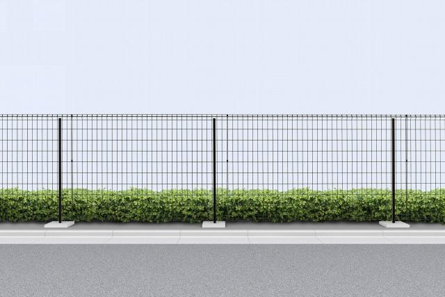 ↑イーネット フェンス1F型〈水平地用 アルミ自由柱施工 T120 OY_商品単体外観_XFOY0346