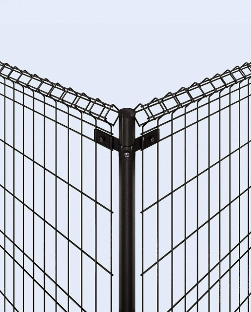 ↑イーネット フェンス1M1MK型〈間仕切柱タイプ コーナー納まり 角柱用部品(スチール 上部 OY_部分_XFXX0501