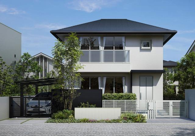 軽快な直線要素でまとめたモダン住宅シンプレオ フェンス 1型 ピュアシルバー